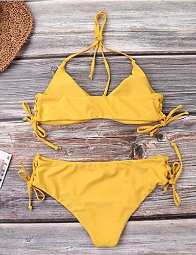 52dcad311e88 Mujer Básico Amarillo Bikini Bañadores - Un Color Espalda al Aire  Acordonado S M L Amarillo