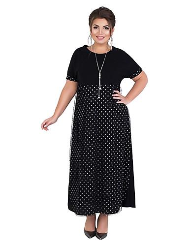 1177d38dc6 Women's Basic Elegant Shift Dress - Polka Dot Mesh Split Patchwork Blue  Black Wine XXXXL XXXXXL XXXXXXL