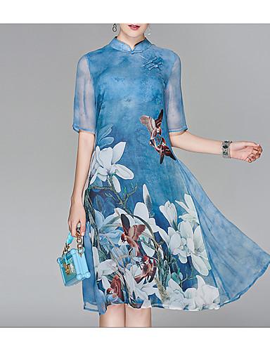 billige Kjoler-Dame Ut på byen Kinesisk Stil Chiffon Kjole - Blomstret, Trykt mønster Høy krage Midi