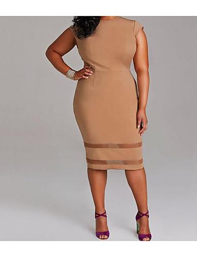 hesapli Büyük Beden Elbiseleri-Kadın's Büyük Bedenler Dışarı Çıkma Kılıf Elbise - Solid Diz-boyu Beyaz / İnce