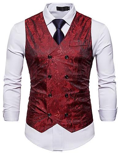 hesapli Yelekler-polyester / Poli&Pamuk Karışımı Düğün / Günlük Giyim Yelekler / İş Nakış süslü / Tek Renk / Geometri