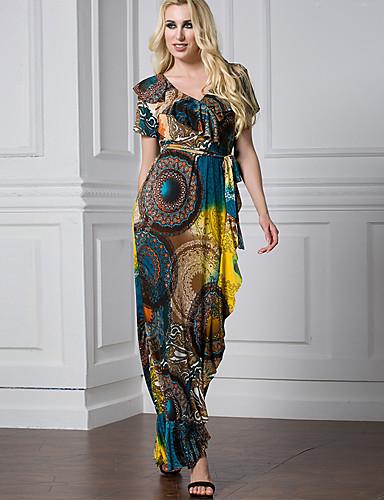 abordables Robes Femme-Femme Rétro Vintage Maxi Gaine Robe Géométrique Arc-en-ciel XXXXL XXXXXL XXXXXXL Manches Courtes
