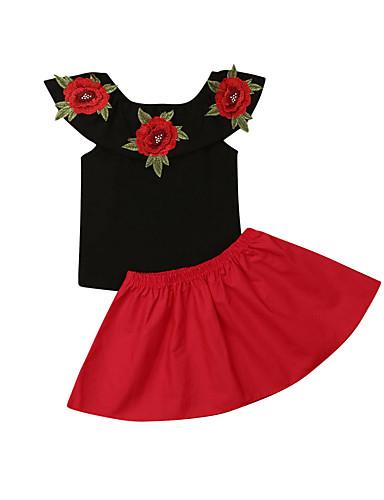 סט של בגדים כותנה ללא שרוולים רקום פרחוני פעיל / סגנון רחוב בנות תִינוֹק / פעוטות