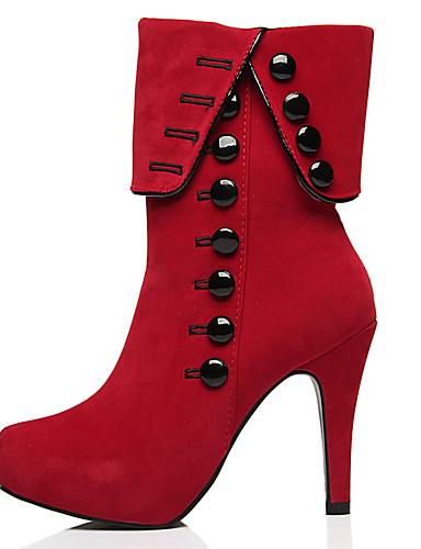 billige Shoes & Bags Must-have-Dame Støvler Sexy Støvler Stiletthæl Rund Tå Knapp Semsket lær Ankelstøvler Klassisk Vinter Svart / Rød