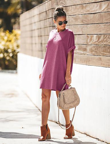 d14319655 رخيصةأون فساتين للنساء-فستان نسائي على شكل تيشيرت موضة فوق الركبة فضفاض لون  سادة