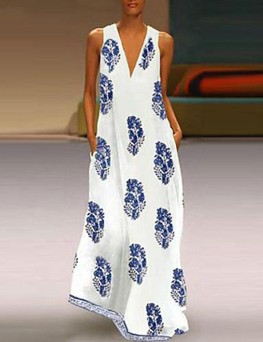 voordelige Maxi-jurken-Dames Grote maten Tuniek Jurk - Tribal, Print V-hals Maxi