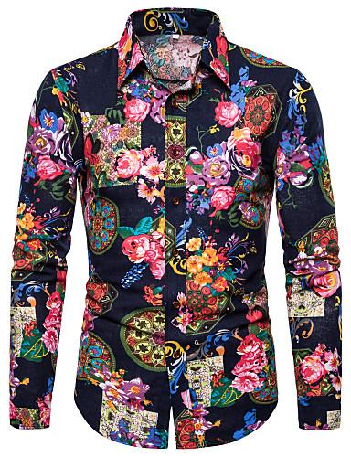 voordelige Uitverkoop-Heren overdreven Print Overhemd Club Bloemen / Grafisch / Tribal Klassieke boord Zwart / Lange mouw
