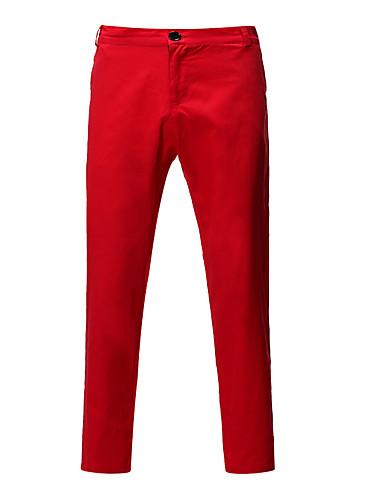 cheap 7/11-Men's Basic Chinos Pants - Solid Colored Navy Blue Yellow Khaki US40 US42 US44