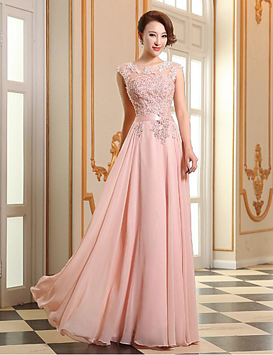 cheap Special Occasion Dresses-A-Line Jewel Neck Floor Length Georgette / Beaded Lace See Through Prom / Formal Evening Dress with Beading / Appliques by TS Couture®