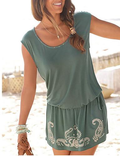 Kadın's Temel Plaj Tarzı Kombinezon Elbise - Solid Mini