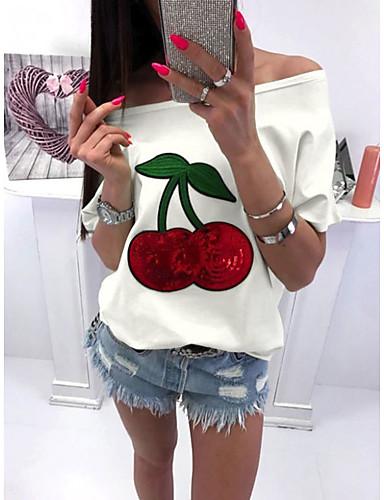 billige Topper til damer-Tynn Store størrelser T-skjorte Dame - Frukt, Paljetter / Løse skuldre Hvit / Vår / Sommer / Høst