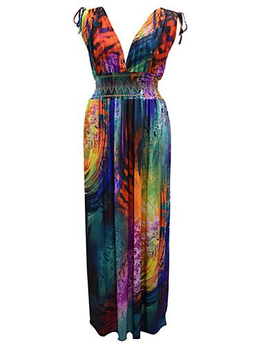voordelige Grote maten jurken-Dames Vintage Schede Jurk - Geometrisch Maxi