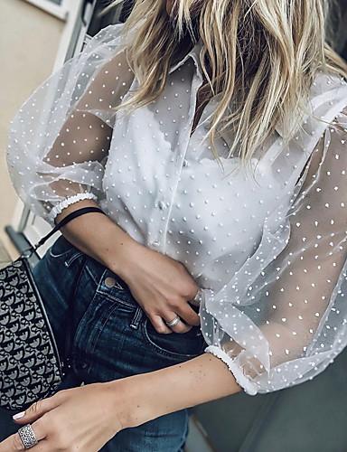 billige Topper til damer-Skjortekrage Skjorte Dame - Polkadotter, Blonde Hvit US8 / UK12 / EU40 / Vår / Sommer / Høst / Vinter