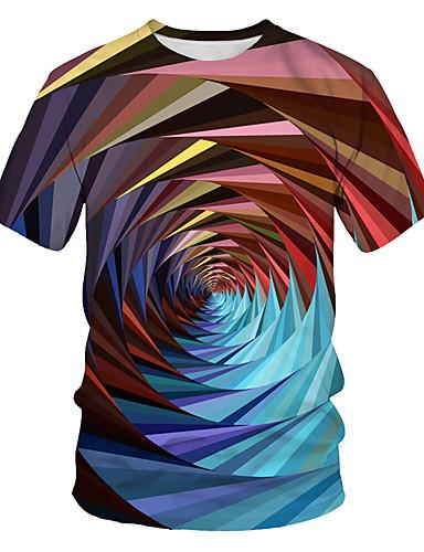 billige T-shirts og undertrøjer til herrer-Herre - Farveblok / 3D / Grafisk Trykt mønster Basale / Punk & gotisk T-shirt Regnbue US40 / UK40 / EU48