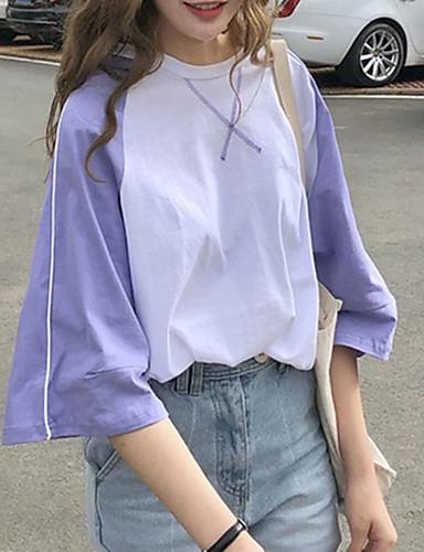 billige Dametopper-T-skjorte Dame - Fargeblokk, Lapper / Trykt mønster Gatemote / Elegant Hvit US4