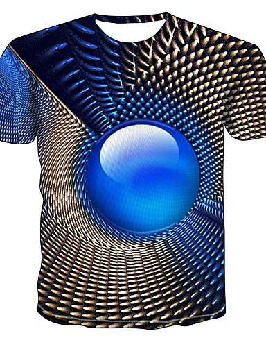 גיאומטרי / 3D צווארון עגול מידות גדולות טישרט - בגדי ריקוד גברים פול / שרוולים קצרים