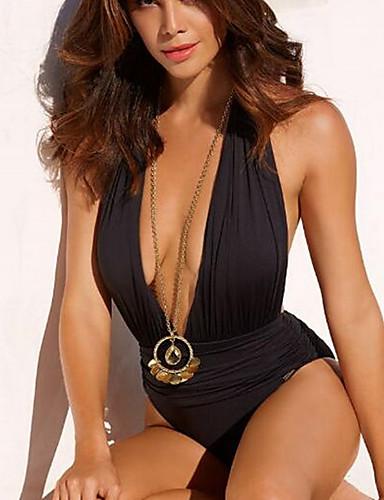 שחור M L XL אחיד, בגדי ים חלק אחד (שלם) שחור בגדי ריקוד נשים