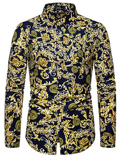 voordelige Herenoverhemden-Heren Print Overhemd Effen / Geometrisch / Grafisch Opstaande boord Blozend Roze / Lange mouw