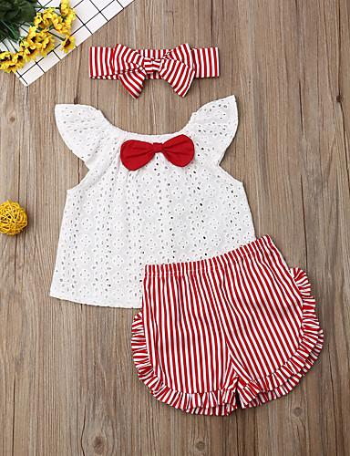 סט של בגדים כותנה שרוולים קצרים פפיון פסים פעיל / בסיסי בנות תִינוֹק / פעוטות