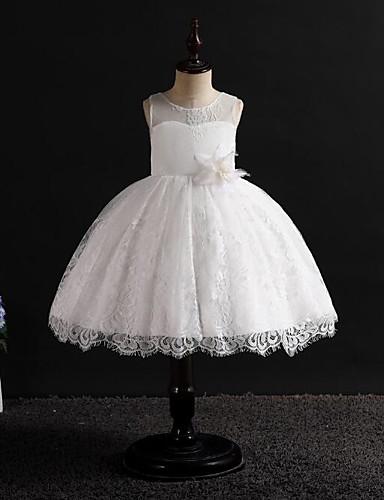 נסיכה באורך  הברך שמלה לנערת הפרחים  - כותנה / פולי / תחרה ללא שרוולים עם תכשיטים עם עלי כותרת / פפיון(ים) על ידי LAN TING Express