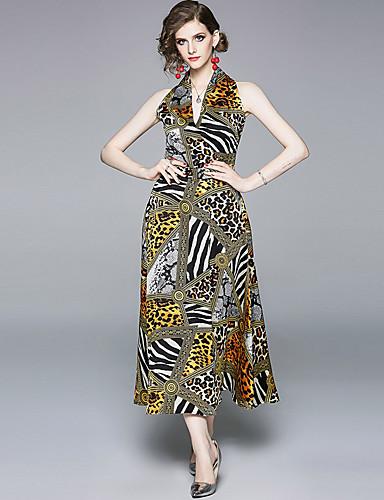 billige Kjoler-Dame Bohem Chiffon Kjole - Leopard, Trykt mønster Maksi