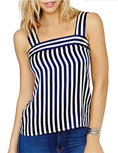 billige Dametopper-T-skjorte Dame - Stripet / Fargeblokk Svart US10