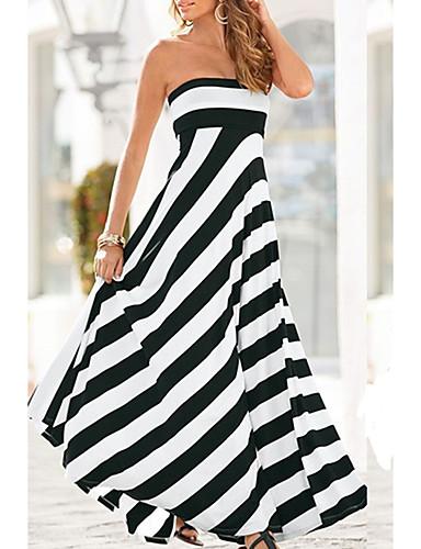 cheap Women's Dresses-Women's Street chic Swing Dress - Check Patchwork Print White M L XL