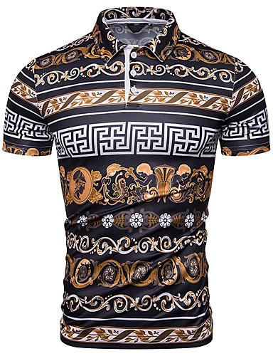 voordelige Herenpolo's-Heren EU / VS maat - Polo Geometrisch Overhemdkraag Regenboog / Korte mouw