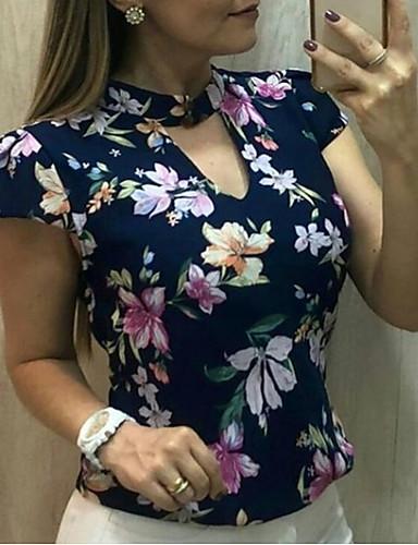 ieftine Bluze & Seturi Femei-Pentru femei În V Tricou Floral Șifon / Imprimeu / Gol Negru US12 / Primăvară / Vară / Toamnă / Zvelt
