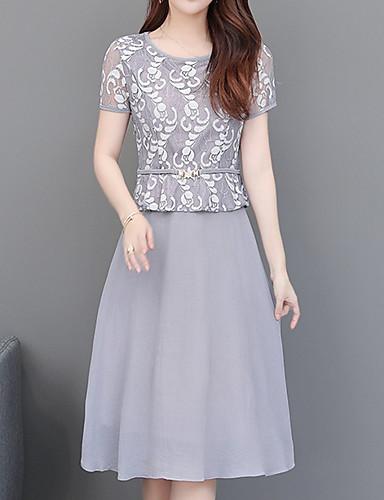 עד הברך דפוס, גיאומטרי - שמלה גזרת A אלגנטית בגדי ריקוד נשים