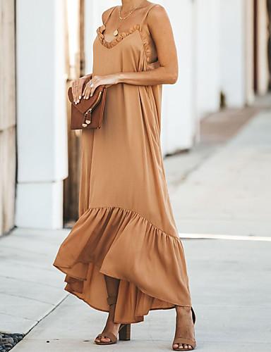 hesapli Maksi Elbiseler-Kadın's Zarif Şifon Elbise - Solid Maksi