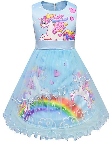 93806909e Kids Toddler Girls' Active Street chic Rainbow Cartoon Sleeveless Above  Knee Dress Blue