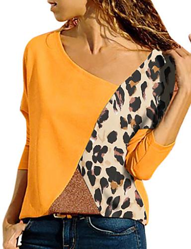 billige Dametopper-Bomull Løstsittende Enskuldret T-skjorte Dame - Fargeblokk, Lapper Grunnleggende / Gatemote Ut på byen Rød