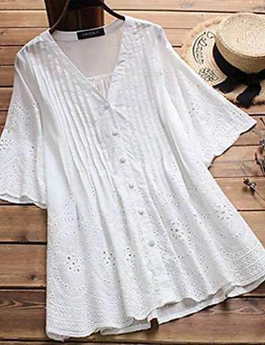 billige Topper til damer-Løstsittende V-hals / Skjortekrage Store størrelser Skjorte Dame - Ensfarget, Utskjæring Gatemote / Elegant Ut på byen Dusty Rose Svart