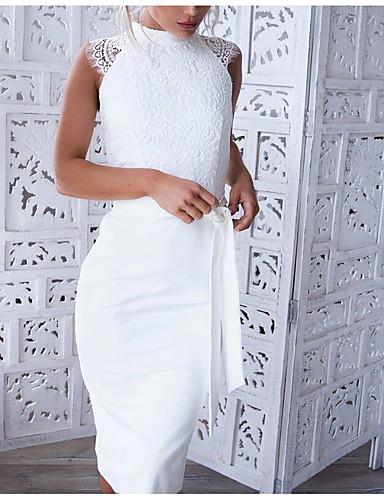 abordables Robes Femme-Femme Dentelle Soirée Travail Elégant Au dessus du genou Slim Moulante Robe Couleur unie Blanc M L XL Sans Manches / Sexy