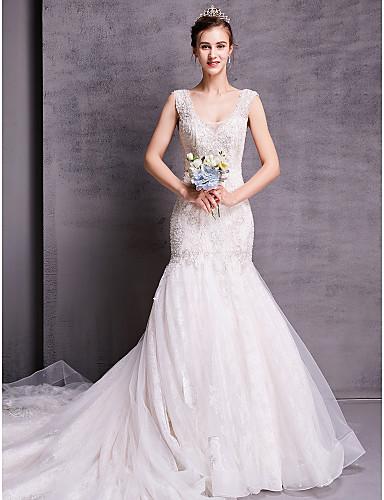 baratos Vestidos de Casamento 2019-Linha A Scoop pescoço Cauda Capela Renda Vestidos de casamento feitos à medida com de LAN TING BRIDE® / Cintilante e Brilhante