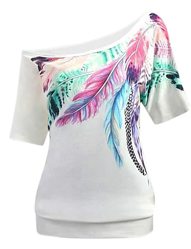 abordables Hauts pour Femmes-Tee-shirt Femme, Graphique Une Epaule Rose Claire
