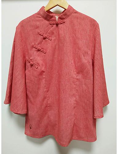 billige Dametopper-Skjorte Dame - Ensfarget Grunnleggende / Elegant Rød US2