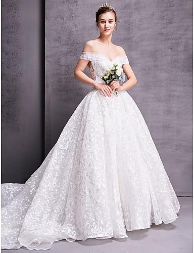 baratos Vestidos de Casamento 2019-Linha A Decote Princesa Cauda Catedral Renda Vestidos de casamento feitos à medida com de LAN TING BRIDE®