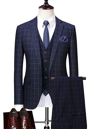 voordelige Herenblazers & kostuums-Heren Pakken, Pied-de-poule Overhemdkraag Polyester blauw / Slank