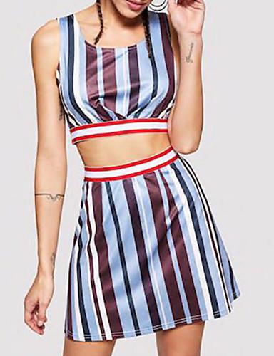 חצאית Ruched / טלאים / דפוס, פסים - סט סגנון רחוב בגדי ריקוד נשים
