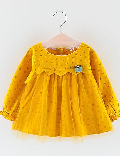 שמלה שרוול ארוך מנוקד בנות תִינוֹק