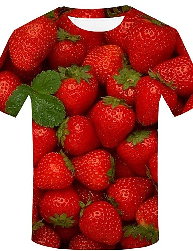 cheap Men's Tees & Tank Tops-Men's Event / Party Casual Street chic / Exaggerated T-shirt - 3D / Graphic / Fruit Print Red XXL