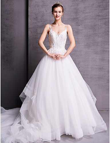 billige Bryllupskjoler 2019-A-linje V-hals Hoffslep Blonder / Tyll Made-To-Measure Brudekjoler med Perlearbeid av LAN TING BRIDE®