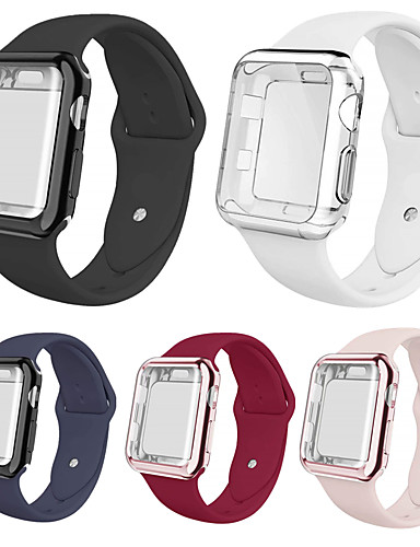 smartwatch הלהקה מקרים עבור Apple Watch סדרה 4/3/2/1 אפל סיליקון הלהקה סיליקון מקרים iwatch אופנה רכה ספורט רצועה