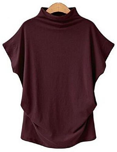 billige Dametopper-Skjortekrage T-skjorte Dame - Ensfarget, Lapper Gatemote Dusty Rose Militærgrønn US16 / UK20 / EU48