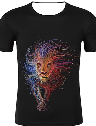 cheap Men's Tees & Tank Tops-Men's Sport Casual Street chic / Exaggerated Plus Size Cotton T-shirt - 3D / Graphic / Animal Print Round Neck Black / Short Sleeve