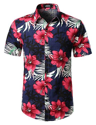 povoljno Muške majice i košulje-Majica Muškarci - Boho Ležerno / za svaki dan / Festival Cvjetni print Navy Plava US44