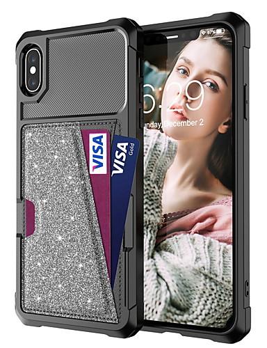 מגן עבור Apple iPhone XS / iPhone XR / iPhone XS Max מחזיק כרטיסים / עמיד בזעזועים / זוהר ונוצץ כיסוי אחורי אחיד / זוהר ונוצץ קשיח עור PU