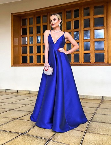 cheap Evening Dresses-A-Line Spaghetti Strap Floor Length Satin Formal Evening Dress with by LAN TING Express